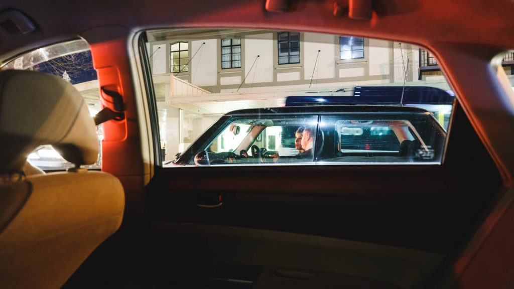 The Conversation - View from taxi to car at traffic lights, Three Lamps, Ponsonby, Auckland, NZ, 2018, street photography, night
