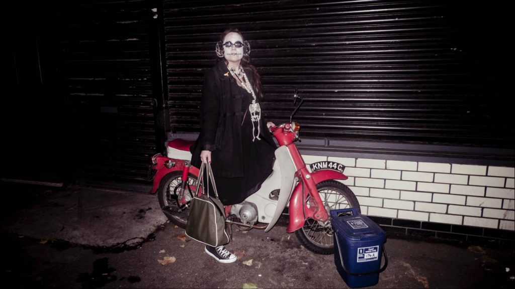 Daily Photo, 3 November 2012, London Halloween, woman, bike, dressed up, costume, flash, photography, portrait