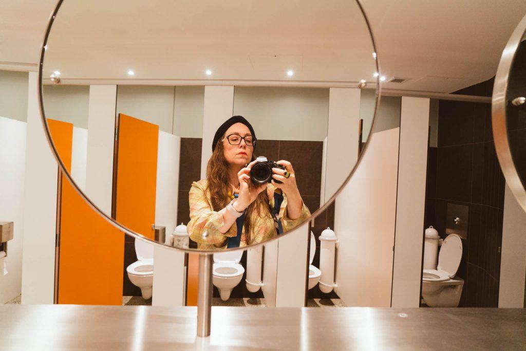 Daily Photo, 12 August 2018, Travis Technique Workshop / Self Portrait with Toilets, photography, mirror