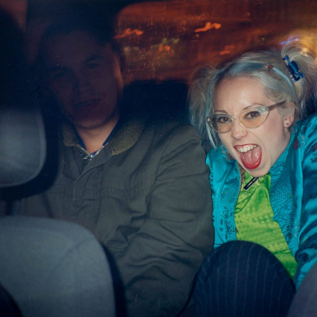 Daily Pho, late 90s, Back of a Night Cab, friends in a cab, night, woman, photography